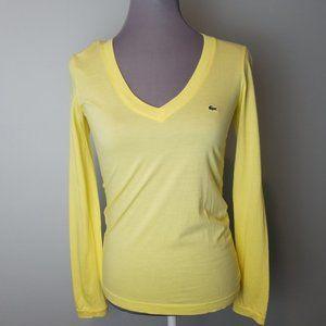 Lacoste lemon Yellow Long Sleeve V-neck 36 Small